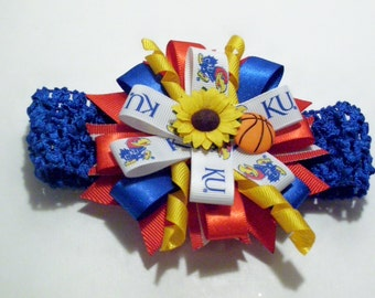 K U Headband, K U Basketball, Kansas University JayHawks HairBow, K u hairbow, K u baby headband, Adult K.U. headband, Newborn KU headband