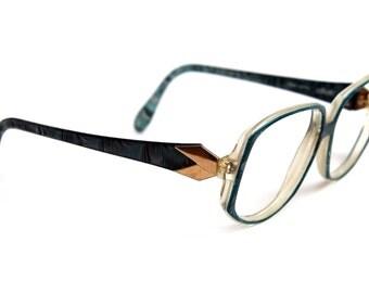80s Women's RX SILHOUETTE Luxottica Eyewear Prescription Frames Turquoise Aqua White Marble Sea Blue