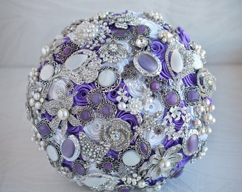 Brooch bouquet. White, Lilac and silver wedding brooch bouquet, Jeweled Bouquet. Made upon request