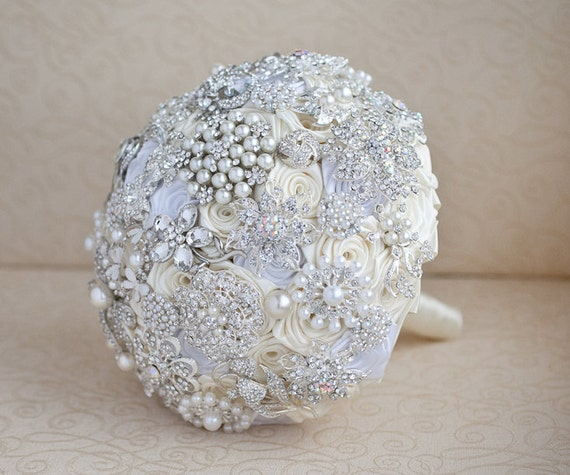 brooch wedding bouquets for sale 30 ready to ship brooch bouquet ivory and silver 2085