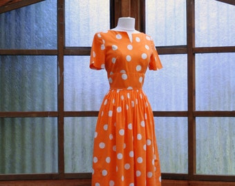 50's Polka Dot Dress Cotton