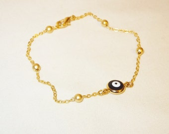 Gold Plated Evil Eye Bracelet,Gold Evil Eye Charm,Kids or Adults Jewelry,Toddler Jewelry,Jewelry,Trendy,Baby Girl