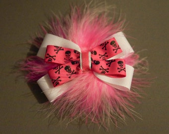 "3 3/4"" Pink Skull Ribbon Bow and Marabou Puff Clip"
