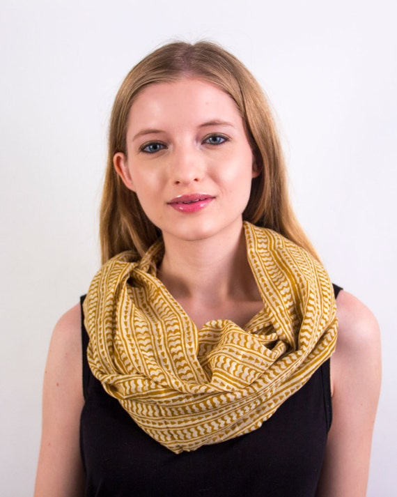 Mustard Yellow Infinity Scarf - Hand block printed, All Natural Vegetable Dyes, 100% Cotton Loop Scarf, Infinity Cowl, Tube Scarf