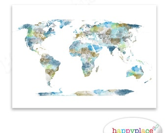 Rose gold world map poster large world map print faux foil watercolour world map poster large world map with watercolor texture digital file for instant gumiabroncs Images