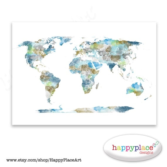Watercolour world map poster large world map with watercolor te gusta este artculo gumiabroncs Gallery