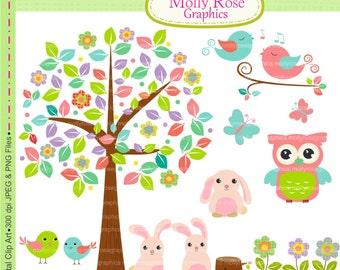SALE summer tree Clip Art,  M.58 cute bunny clip art, cute,owl, bird clip art, girl wall art clip art, embellishment printable, Scrapbooking
