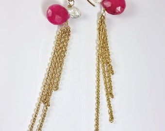 Hot Pink and White Duster Earrings by KarenWhalenDesigns