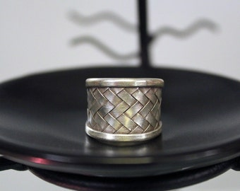 Simple Woven Bamboo Sterling Silver Ring