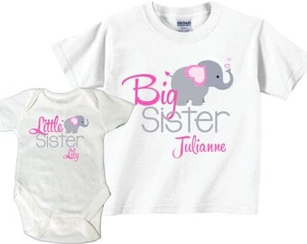 Big Sister, Little Sister Shirts with Elephants Tshirt and Bodysuit Sibling Set Tees