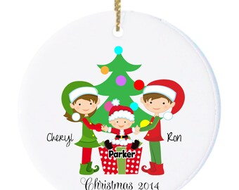 Personalized Family of 3 Christmas Ornament, Christmas Tree