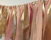 Blush pink, pale pink and gold, hand dyed Fabric garland - Wedding & Party decor, photo backdrop, rag garland