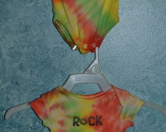Infant Bodysuit SIZE Newborn Twin Set or Separate Upcycled Spiral Tie-Dye in Orange, White, Yellow & Lime, Peace and/or Rock