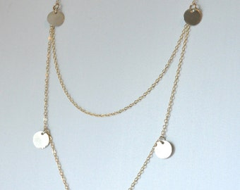 Mixed Metal, Long Gold Silver Disc, Double Layer Necklace