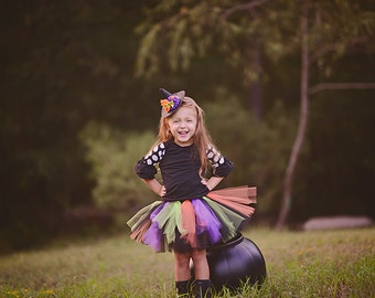 Witch tutu and mini hat headband. Black, orange, purple and lime green