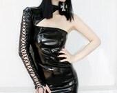 ADELE PIERRI 'Black Mirror' Glam Goth Rock Fetish Heavy Metal style Black Shiny PVC Mini Dress with Lace-Up Sleeve
