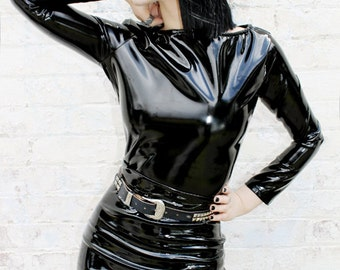 ADELE PIERRI 'Charmer' Goth Glam Rock Metal Fetish style Black Shiny PVC Long Sleeve Top