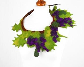 Felted Collar felt Necklace SUMMER WINE purple lilac olive art jewerly nunofelt Nuno felt collar Art deco silk Fiber Art boho
