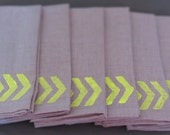 Hand Printed and Reusable Natural Linen Napkins - Set of 2 Cloth Napkins - Chevron Neon Yellow - Spring decor