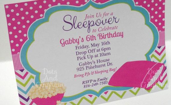 Sleepover Invitation Slumber Party Invite Printable Sleepover