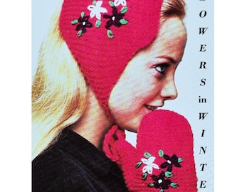 Digital Download Knit & Floral Embroidered Earwarmer and Mittens Pattern - Retro PDF Knitting Supplies Knitting Patterns