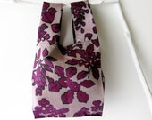 Foldable bag w/ drawstring bag /Vintage kimono/ violet flower pattern/ small