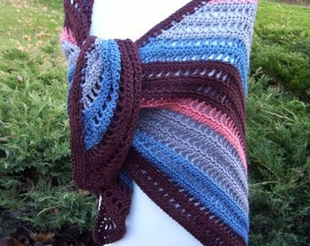 Crocheted Triangle Shawl / Wrap / Scarf /  Brown / Gray / Deep Teal /  Orange Coral