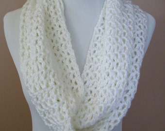 Crocheted Cowl / Infinity Scarf  / Eternity Scarf / Hooded Scarf / Neck Warmer / White