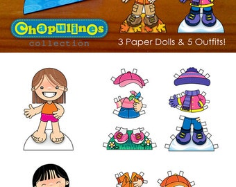 60% off Paper Dolls - Printable - Seasons of the Year - Girls - Full Color - Set 021