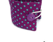 Insulated Coffee Sleeve FREE UK SHIPPING Purple Polka Dot