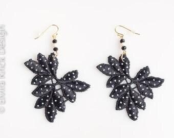 Black Lace earrings, handpainted lace earrings, black dangle earrings, rock and roll jewelry, hand painted earrings, retro jewelry