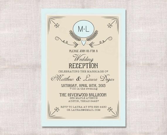 Wedding Reception Celebration After Party Invitation Custom