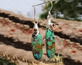 Turquoise Citrine Earrings Hand Crafted Long Silver Earrings 54 MM