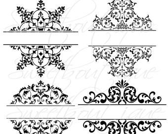 4 Digital Borders Frames Ornate Retro Vintage Wedding Bridal Shower Decorations Supplies Clip Art Clipart Scrapbooking