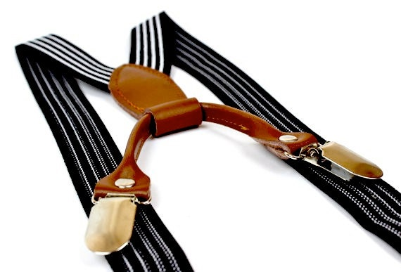 Toddler/Baby - Black Striped Suspenders
