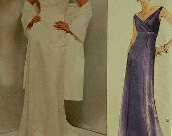 "Dress & Shawl by Badgley Mischka -2000's - Vogue Pattern 2134  Uncut  Sizes 6-8-10  Bust 30.5-31.5-32.5"""