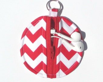 Red and White Chevron Circle Zip Earbud Pouch / Coin Purse