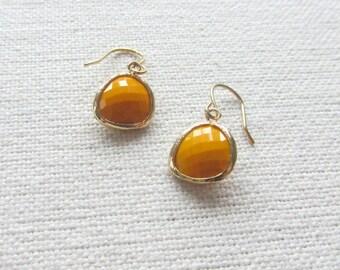 Mustard Yellow Earrings, Modern Gold Dainty Glass Earrings