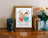 Custom portrait illustration couple personalized sketch wedding anniversary, couple drawing illustration, printable print wall art digital