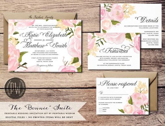 Printable Wedding Invitation Suite Floral Invite Vintage Style Roses Rustic RSVP Card DIY