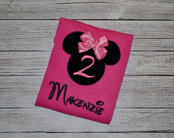 Personalized Minnie Mouse Birthday with Number Appliqued Shirt or Bodysuit - pink shirt with bow