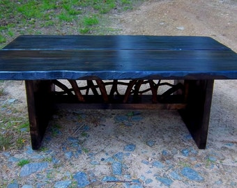 Rustic Modern Handmade Coffee Cocktail Table Log Cabin Adirondack Furniture by J. Wade