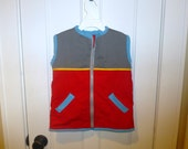 Red and grey zip-up vest size 2T, 3T, 4T, 5, 6, 7, 8