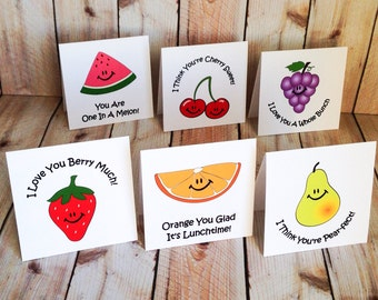 Lunch Box Notes, LunchBox Mini Cards, Fruit, Back To School, Toddler, Kid, Handmade Notecard Set