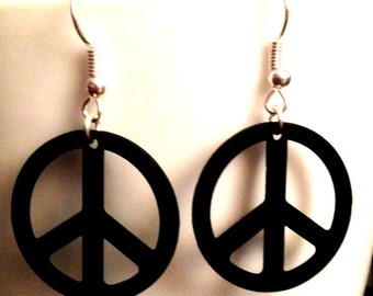 Recycled VINYL RECORD Peace Earrings