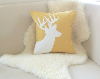 Deer Pillow Cover - Mustard & Ivory Silhouette Appliqué