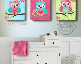 OWL Art, Girls Nursery Decor Wall Art , Owl Nursery Art, Canvas Art, Girl Room Decor, Owl Nursery Decor, Pink Green Aqua