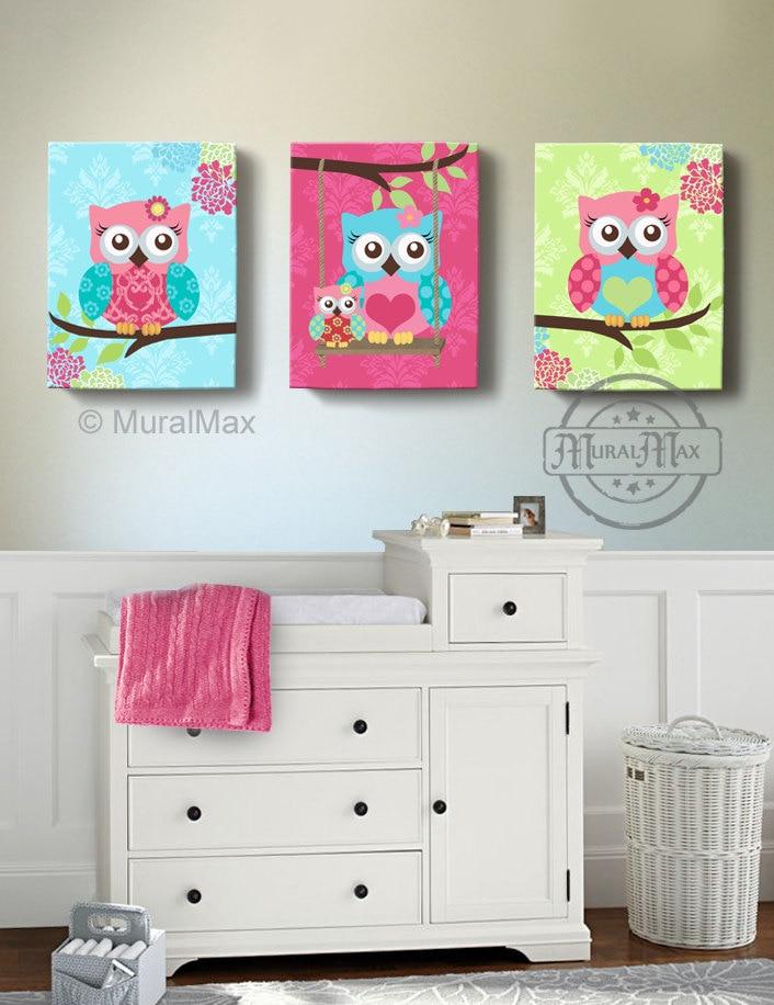 Etsy Girl Nursery Wall Decor : Owl art girls nursery decor wall