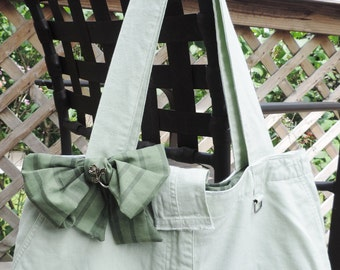 Large Lined Mint Green Purse / Handbag / Tote Bag, Handmade from Upcycled/ Recycled Green Dress Skirt, Inside is Lined w/ Pockets