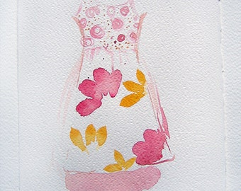 Watercolor painting. Pink floral dress painted by watercolor. Original painting,sketches. Small watercolor 7,5 by 11 inches. Kitchen decor